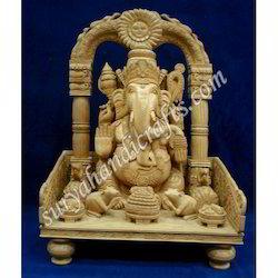 Wooden Chowki Ganesh