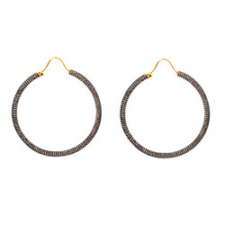 Pave Diamond Designer Hoop Earrings