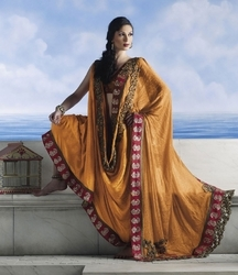 Sareegalaxy - Orange Brocade Saree With Blouse