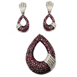Ruby pendants necklace set designer gemstone necklace exporter micro pave ruby pendant set get best quote aloadofball Image collections
