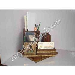 Teak Wood Gem Stone Painting Table Office Set