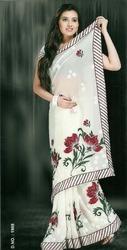 Designer White Sarees