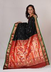Traditional Black Designer Paithani With Golden Buttis