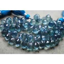 Paraiba Blue Mystic Quartz Faceted Drops Briolettes