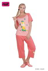Ladies Cotton Printed Pajamas Nightwear