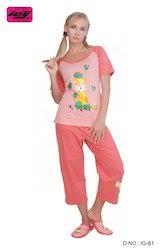 Ladies Cotton Printed Pajamas