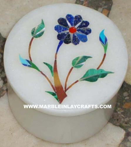 Round Marble Inlay Box