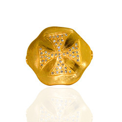 Cross shaped diamond gold rings