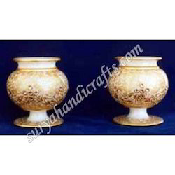 Marble Lotta Pots With Gold Painting