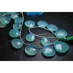 Aqua Chalcedony Faceted Heart Briolettes