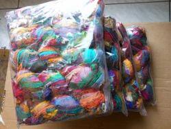 Multicolored Sari Silk Ribbon Yarns In Skeins