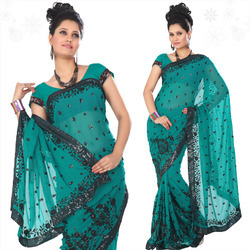 Teal Faux Georgette Saree With Blouse