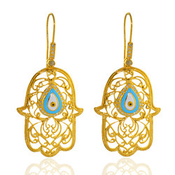 14K Gold Evil Eye Hamsa Earrings Jewelry