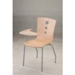 L Shaped Wooden Study Chair With Small Writing Tablet