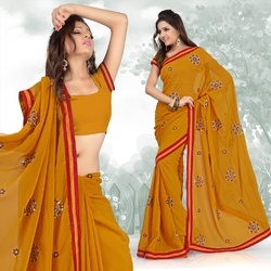 Mustard Faux Georgette Saree With Blouse