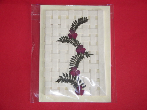 Netted Handmade Paper Greeting Card With Dried Flowers