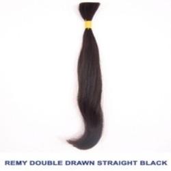 Remy Double Drawn Bulk Hair ( 100 Natural Black Hair )