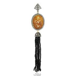 Black Spinal Beads 18k Gold Tassel Pendant