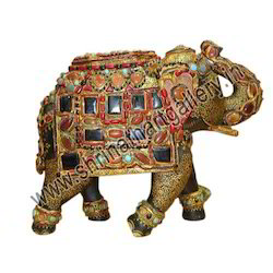 Indian Wooden Painted Elephant With Stones