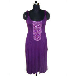 Purple Knit Satin Dress