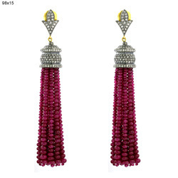 Ruby Beads Tassel Earring