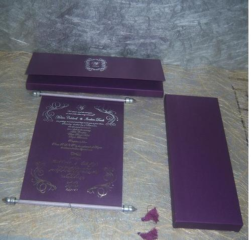 Foil Printed Elegant Scroll Invites