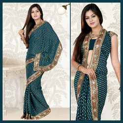 DeepTeal Viscose Saree with Blouse (103)