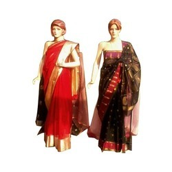 Red And Black Chanderis Saree