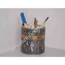 Metal Pen Stand With Lecker On It