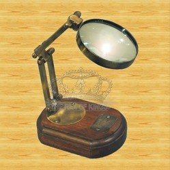 Brass Adjustable Magnifier With Wooden Base