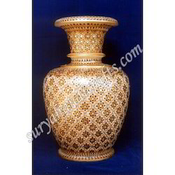 Marble Vases With Gold Painted