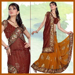 Maroon And Orange Faux Georgette Saree With Blouse(144)