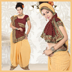 Beige Faux Georgette Saree With Blouse (06)