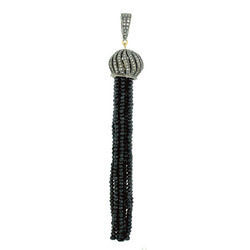 Black Spinal Pave Diamond Tassel Pendants
