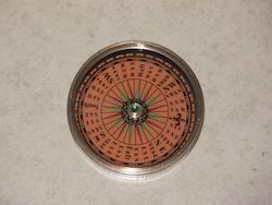 Nautical Brass Compass With Orange Base