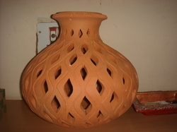 Earthen Flower Pot, Cutting Work