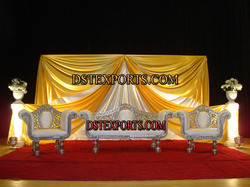Asian Wedding Golden Carved Sofa Set