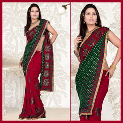 Maroon Faux Georgette Saree With Blouse (130)
