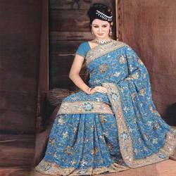 Embroidered Chiffon Bridal Saree