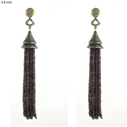 Designer Gemstone Tassel Earrings