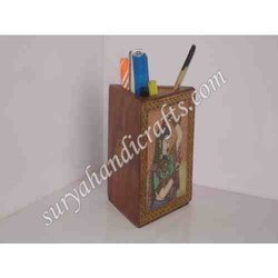 Wooden Gem Stone Painting Pen Stand