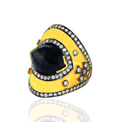 Designer pave diamond Black Onyx Rings