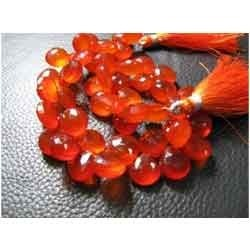 Orange Chalcedony Faceted Heart Briolettes