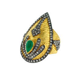 Emerald & Diamond Studded Gold Rings