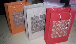Bagasse Handmade Paper Bags With Patchwork Print