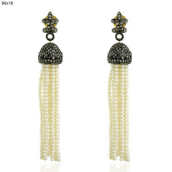 Pearl Beads Diamond Tassel Earrings