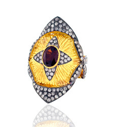 Diamond studded Garnet Ring