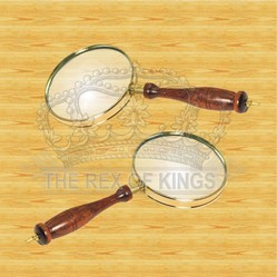 Brass Magnifier Set: 3-Power, 90MM Hand-Held Magnifier