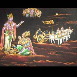 Krishna Arjun Velvet Painting