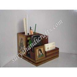 Teak Wood Geme Stone Painting Table Office Set